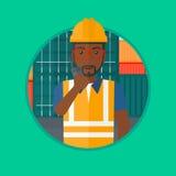 Port worker talking on wireless radio. Stock Image