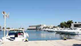Port with yacht stock video footage
