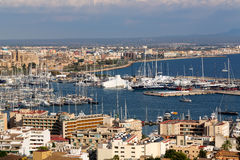 Port with yachts and the city of Palma De Mallorca Royalty Free Stock Photography