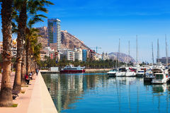 Port with yachts and embankment. Alicante Stock Image