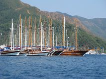 Port with yachts in marmaris turkish resort Stock Image