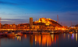 Port with yachts in night. Alicante, Spain Stock Image