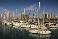 Port with yachts for rent. Port with beautiful yachts for rent. Sunny day stock image