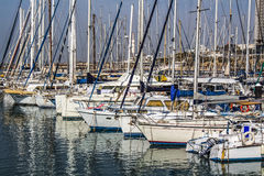 Port with yachts for rent. Port with beautiful yachts for rent. Sunny day stock photography