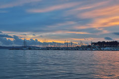 Port with yachts in Split with sunset sky Royalty Free Stock Image