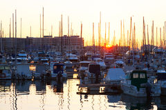 Port with  yachts  in sunrise. Alicante Royalty Free Stock Image