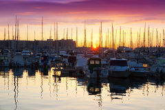 Port with yachts in sunrise. Alicante, Spain Stock Images