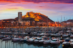 Port with yachts  during sunset. Alicante Royalty Free Stock Images