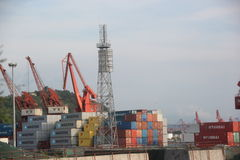 Port yard and unloading area in SHENZHEN CHINA ASIA Stock Photo
