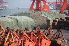 Port yard and unloading area in SHENZHEN CHINA ASIA Royalty Free Stock Photo