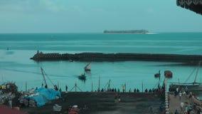 Port of Zanzibar. Wideshot of the port of Zanzibar stock video