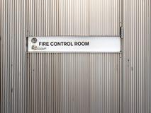 Porta à sala de comando do fogo imagens de stock royalty free