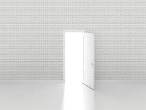 Porta aberta na parede de tijolo branca, 3d Fotografia de Stock