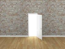 Porta aberta na parede de tijolo, 3d Imagens de Stock Royalty Free