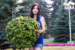 Porta affianco della ragazza con Bush decorativo nel giardino Immagini Stock