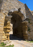 Porta all` Arco, one of city`s gateways, is the most famous Etruscan architectural monument. In Volterra, Italy Stock Image