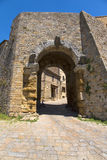 Porta all` Arco, one of city`s gateways, is the most famous Etruscan architectural monument in Volterra. Italy Stock Image