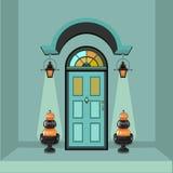 Porta anteriore della casa a tempo di autunno Fotografie Stock Libere da Diritti
