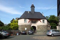 Porta ao castelo velho em Runkel germany fotografia de stock