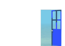 Porta aperta blu che osserva al paesaggio del mare all'esterno illustrazione di stock