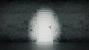 porta aperta 3d in un muro di mattoni d'annata bianco Fotografia Stock