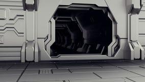 Porta aperta del capannone sul veicolo spaziale Dietro la porta è un tunnel scuro rappresentazione 3d royalty illustrazione gratis