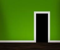 Porta aperta nella parete verde fotografie stock