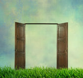 Porta aperta sull'erba verde Immagini Stock Libere da Diritti