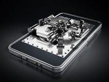 Porta arcata d'argento di sicurezza sullo schermo dello smartphone Fotografia Stock