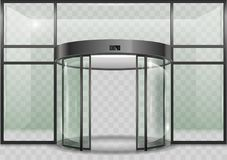 Porta automática de vidro redonda Fotografia de Stock Royalty Free