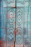 Porta azul com elementos decorativos Foto de Stock Royalty Free