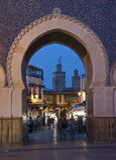 A porta azul em a noite Imagens de Stock