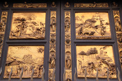 Porta Battistero #3. Closeup view of famous door of Baptistery in Florence, Italy Royalty Free Stock Photos