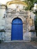 Porta blu medievale antica Fotografia Stock Libera da Diritti