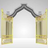 Porta celestial com vetor aberto da cerca do ouro ilustração do vetor