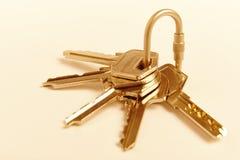 Porta-chaves com chaves no tom dourado Aluguel, compra Imagem de Stock Royalty Free