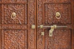 Porta che elabora dal legno - India Fotografie Stock