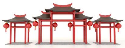 Porta chinesa simples do pavilhão 3D Imagem de Stock Royalty Free