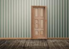 A porta chiusa in una stanza vuota Immagine Stock