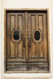 Porta cinzelada da madeira maciça com elementos de vidro Imagens de Stock Royalty Free