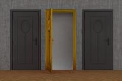 Porta cinzenta e porta do ouro ilustração stock
