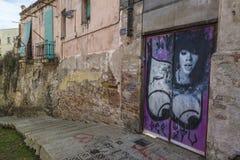 Porta coberta com os grafittis Fotos de Stock