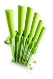 Porta-coltelli con 6 coltelli verdi differenti fotografie stock