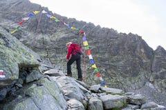 Porta com bandeiras tibetanas Fotos de Stock