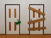 Porta com o Tag aberto e a porta embarcada ilustração do vetor