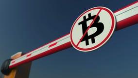 Porta da barreira com sinal da proibição de Bitcoin Rendição 3D conceptual da proibição de Cryptocurrency ilustração royalty free