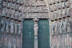 Porta da catedral de Strasbourg Fotos de Stock