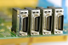 Porta da conexão da eletrônica imagem de stock