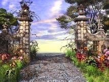 Porta da entrada ao jardim ilustração do vetor