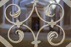 Porta da estrutura do ferro forjado da decoração sob a forma das folhas da planta Imagens de Stock
